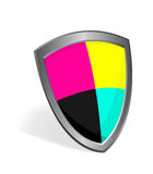 Cmyk color shield concept Royalty Free Stock Photo