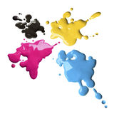 Cmyk Color Splashes Royalty Free Stock Photo