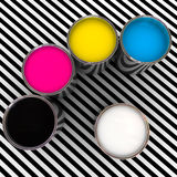 Cmyk color and white. Paint color cmyk and white 3d metal can background Stock Images