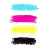 CMYK colorea manchas en colores pastel del creyón Fotos de archivo libres de regalías