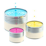 CMYK colored buckets of paint isolated Stock Images
