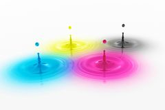 CMYK colored drops with waves Stock Photo