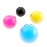 CMYK colored glossy spheres background composition Royalty Free Stock Photos