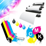 CMYK coloring icon set Stock Image