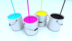 Cmyk colors. Bin 3d illustration Royalty Free Stock Images