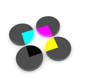 CMYK Colors. 3d rendering of four gray cylinders with an CMYK rectangle inside Royalty Free Stock Photo