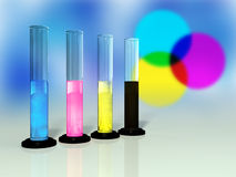 Cmyk colors. Primary colors for printing in glass tubes. Digital illustration Stock Photo