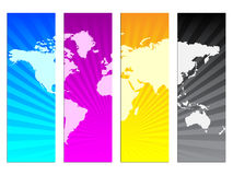 CMYK colors. Vector illustration of CMYK colors with world map Royalty Free Stock Image