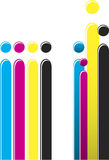 CMYK Colors. Bars of CMYK colors organized in two different ways Royalty Free Stock Photo