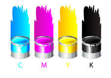 CMYK colors. Four isolated pots with paints vector illustration