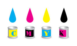 CMYK colors in the can. Illustration of print CMYK colors droping into the cans Stock Images