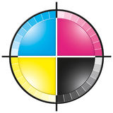 CMYK Colors Cross. Attractive and technical representation of CMYK print colors spectrum. Clipping path included royalty free illustration