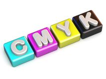 CMYK colors cube 3D render illustration. Isolated on white background Stock Photos