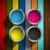 CMYK colors design. Paint buckets royalty free illustration