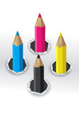 CMYK colors pencils. Royalty Free Stock Photography
