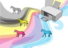 Cmyk colors of printer. Abstract horses as ink for printer stock illustration
