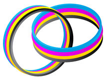 CMYK colors on rings Royalty Free Stock Photography
