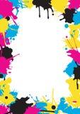 CMYK colors Splatters frame Royalty Free Stock Image