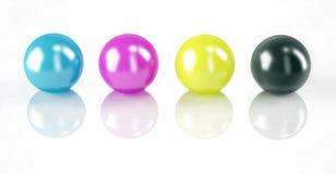 CMYK colors on white. Set of balls isolated on white: CMYK colors Royalty Free Stock Photo