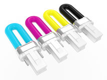CMYK colour fluorescent bulbs Royalty Free Stock Images