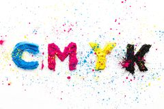 CMYK colour toner for printer cyan magenta yellow. On white background stock image
