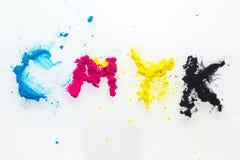 CMYK colour toner for printer cyan magenta yellow Stock Photos