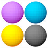 CMYK colours. Four multi-coloured spheres in palette CMYK royalty free illustration