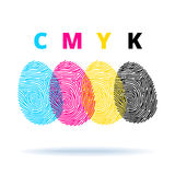Cmyk concept with fingerprints. Fingerprints and CMYK colors mode - printing concept Royalty Free Stock Photo