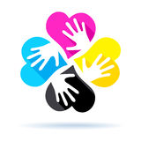 CMYK concept - four hearts with hands Royalty Free Stock Photography