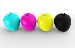CMYK concept using apples Royalty Free Stock Photography