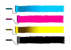CMYK concept vector illustration with brushes Stock Photos