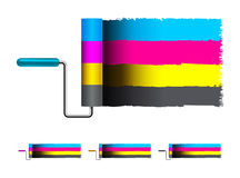 CMYK concept vector illustration with brushes Royalty Free Stock Image