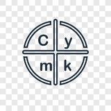 Cmyk concept vector linear icon on transparent backgrou royalty free illustration