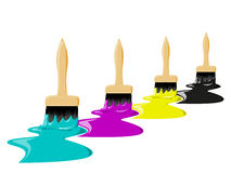 CMYK color brushes Royalty Free Stock Images