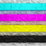 CMYK crumpled stripes Royalty Free Stock Photography