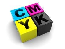 CMYK Cubes Stock Photo