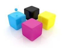CMYK cubes Stock Image