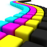CMYK cubes Royalty Free Stock Photos