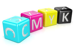 CMYK cubes. Abstract 3D render. Illustration  on white background Royalty Free Stock Photography