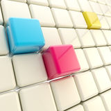 CMYK cubes abstract glossy background Stock Image