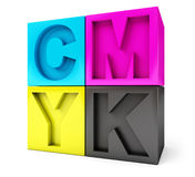 CMYK cubes white background Royalty Free Stock Photography