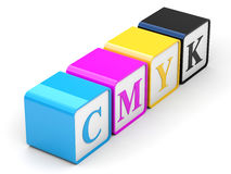 CMYK cubes Stock Photography
