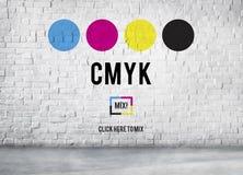 CMYK-cyan-blaues magentarotes gelbes Schlüsselfarbdruck-Prozess-Konzept Stockfoto