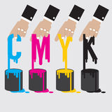 CMYK - Cyan Magenta Yellow And Black The Offset Printing Royalty Free Stock Photography