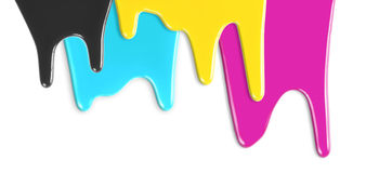 CMYK cyan magenta yellow inks dripping isolalated Stock Photos