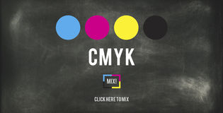 CMYK Cyan Magenta Yellow Key Color Printing Process Concept Stock Images