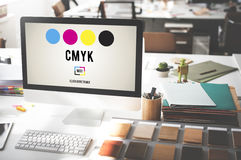 CMYK Cyan Magenta Yellow Key Color Printing Process Concept royalty free stock photos