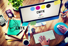 CMYK Cyan Magenta Yellow Key Color Printing Process Concept royalty free stock images