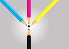 cmyk 3d pencils white Arkivfoton