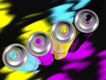 Cmyk della vernice di spruzzo Fotografie Stock Libere da Diritti